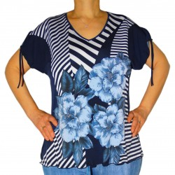 T-shirt imprimé marin/fleur à strass Masquena