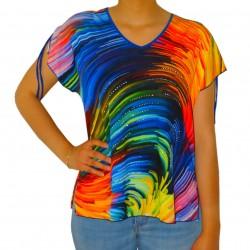 T-shirt femme multicolore imprimé