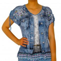 T-shirt femme imprimé jean bijoux Masquenada
