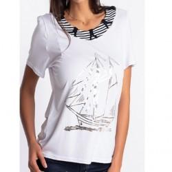 T-shirt bateau Natural Marin