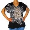 T-shirt imprimé léopard strass Masquenada