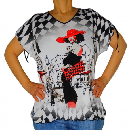 T-shirt imprimé femmes damier strass Masquenada