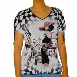 T-shirt femme imprimé prune damier