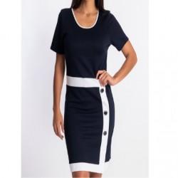 Robe fourreau mariage & soirée bleu marine blanche habillée tailleur 3 boutons Natural Marin