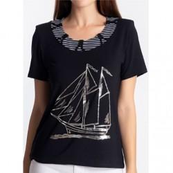 T-shirt femme imprimé motif bateau Natural Marin manches courtes