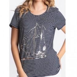 T-shirt à rayures imprimé bateau femme Natural Marin