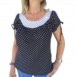 Tee shirt femme imprimé à pois bleu marine blanc coeurs manches courtes Masquenada