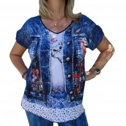Tee shirt imprimé femme strass et paillettes bleu jean chat Masquenada